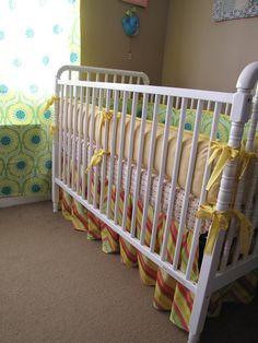 4 items Pop Garden baby bedding with bumper set, crib sheet, ruffled crib skirt and soft blanket