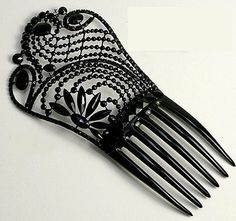 Whitby jet hair comb