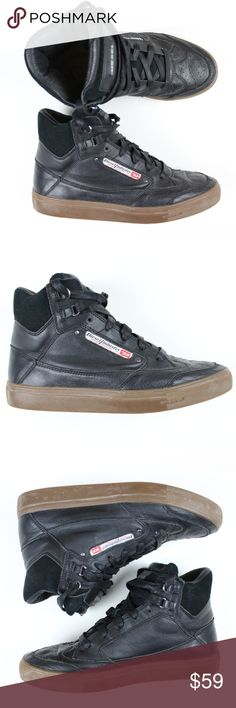 Diesel Mens Shoes 9.5 Black High Top Sneakers Diesel Men's Shoes 9.5 Black Leather High Top Fashion Sneakers Claw King Stylish  Size: 9.5      Very good pre-owned condition! minor wear on lace see last picture.     Feel free to message me with any questions! Diesel Shoes Sneakers