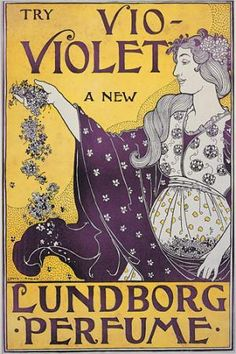 "c.1890-1920 ~ Poster Print ~ ""The Violet ... A New Lundborg Perfume""  by Louis Rhead (1857-1926) ....  Print Department of The Boston Library, USA ...."