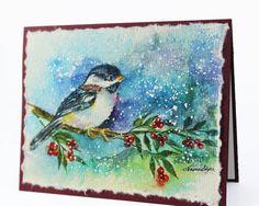 OOAK Christmas Card, Original Handpainted, 100% Cotton Rag Paper. Handmade Greeting Card, Winter Card, Chickadee, Seasonal, Fall Card,