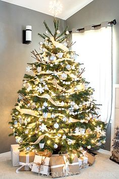 Make white the dominant hue this holiday for a more neutral, rustic look.