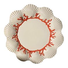 Bring the ocean to your table setting with this Saint Jacques plate from Les Ottomans. Made from ceramic and hand-painted in Italy, this plate is shaped like a collection of shells and features red co Hand Painted Plates, Decorative Plates, Kitchen Larder, Coral Design, Dinner Plates, Table Settings, Ottomans, Ceramics, Shapes