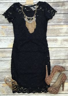 Sealed with a Kiss Dress: Black