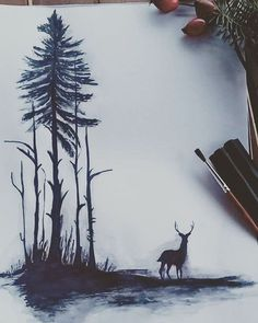 #andrearysuje#art#drawing✏#marker#black#deer#forest#goodday#illustration#sketch#artwork#creative