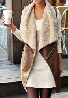 Brown Plain Pockets Long Sleeve Casual PU Leather Vest