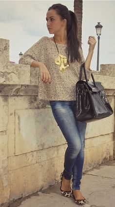 leopard shoes - statement necklace