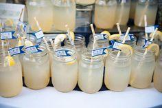 Navy and Yellow Wedding signature drinks in mason jars  http://www.vintagevinylcds.com/
