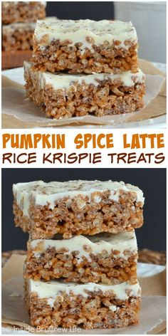 Rice Krispie Treats with a pumpkin spice and coffee twist is a fun fall treat for parties. Rice Krispie Treats with a pumpkin spice and coffee twist is a fun fall treat for parties. Oreo Dessert, Pumpkin Dessert, Dessert Bars, Rice Krispy Treats Recipe, Pumpkin Rice Krispie Treats, Rice Krispie Pumpkins, Homemade Rice Crispy Treats, Halloween Rice Crispy Treats, Rice Krispie Bars