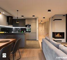 Dom w Rudzie Śląskiej - Realizacja - Mała otwarta kuchnia w kształcie litery g w aneksie, styl nowoczesny - zdjęcie od Conceptgroup