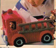 Pattern to Make FIRE TRUCK FIRETRUCK TISSUE BOX COVER ~ Crochet PATTERN