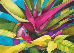 Hawaii.....Art Original Watercolor Painting Colorful Tropical BROMELIAD