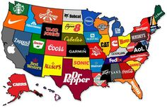 Map showing the most famous brands to originate from each state (lol florida)