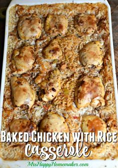 Baked Chicken with Rice Casserole (Old Church Cookbook recipe! Chicken Rice Casserole, Casserole Recipes, Pizza Casserole, Potato Casserole, Homemade Chicken And Dumplings, Baked Chicken With Rice, Cookbook Recipes, Cooking Recipes, Chicken Potatoes