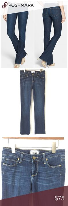 """Paige Manhattan Tobi Dark Wash Bootcut Jeans Dimensional dark denim is fashioned into a pair of modern bootcut jeans with a refined, flattering fit. 32"""" inseam; 18"""" leg opening; 8 1/2"""" front rise (size 26). Zip fly with button closure. Five-pocket style. 90% cotton, 6% elastomultiester (elasterell-p), 4% elastane. Machine wash cold, tumble dry low. By Paige Denim; made in the USA. t.b.d. Use hip measurement to determine size. Narrow through the thigh. Snug fit; will stretch with wear. Toby…"""