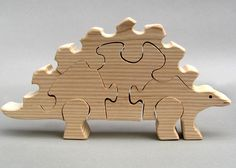 Wooden Stegosaurus Puzzle Organic Dinosaurs for Kids, Boys and Girls Waldorf Childrens Play. $18.95, via Etsy.