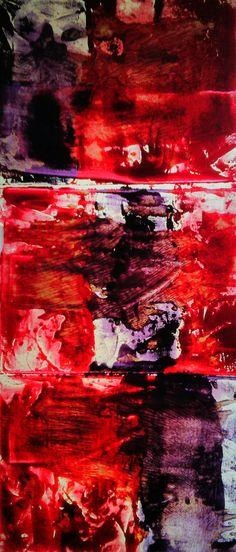 """""""Pulses"""" by Iris Einfeldt   http://www.isisicefieldgallery.com/2013/05/pulses-by-iris-einfeldt.html   #oil #rice #paper #painting #purple #Oilonricepaper (back-lit) #red #art #kunst #malen #light #licht #white"""