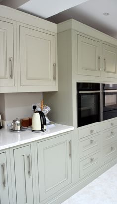 Vanilla quartz worktops complement the flint grey and almond cabinetry creating a very restful and inviting colour palette. Real Kitchen, Home Decor Kitchen, Kitchen Interior, Interior Design Living Room, Kitchen Ideas, Shaker Kitchen, Kitchen Layout, Kitchen Design, Classical Kitchen