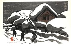 """Artist:Kiyoshi Saito (1907-1997)    Date: Unknown - sometime after 1938    Title of Book/Series/Work: Winter in Aizu - Snowscape    Condition: Very good condition    Size: 17.25"""" x 11.5""""    Description: 100% genuine & authentic originalrare Japanese woodblock print by the famous 20th century Japanese Sōsaku Hanga artistKiyoshi Saito. Very good color and impression. Hand signed with artist seal. Unframed - glued down to a board and ready to frame.    Kiyoshi Saito was a well known and…"""