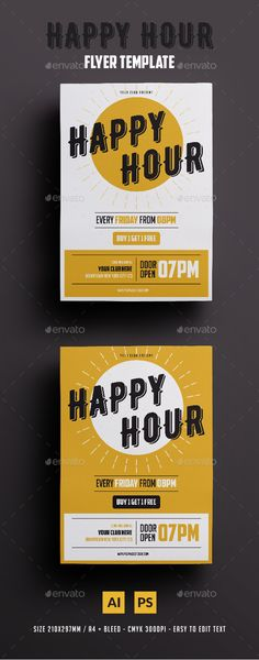 Happy Hour Flyer Template PSD, AI Illustrator. Download here: https://graphicriver.net/item/happy-hour-flyer/17171744?ref=ksioks