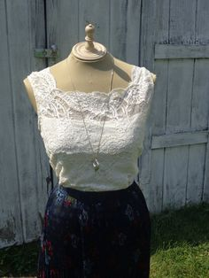 Vintage White Lace Tank Top Off White  Small/Medium by BosVintage