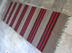 Antique Anatolian Kilim Rug Runner - Striped Long - Large Area Carpet (read description) - Mocha Beige Red Black - 2.8X8.7 ft - 1920's