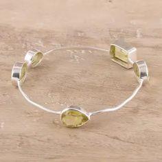 Quartz bangle bracelet, 'Thoughtful' - Yellow Quartz Bangle Bracelet from India #banglebracelet #fallaccessories #fallinspo #shophandmade #handcraftedwithlove