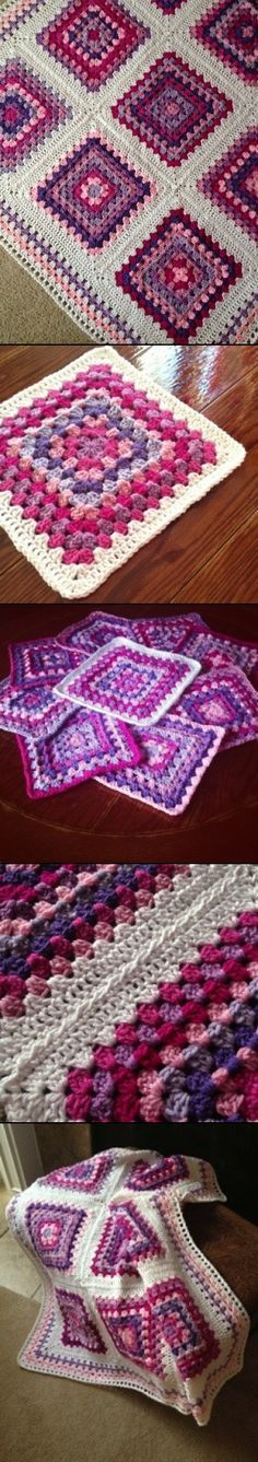 Inspiration :: Patchwork Blanket, by babylovebrand. Bordering each granny square with a row of DC gives extra texture to this blanket (no specific pattern).Informations About Inspiration :: Patchwork Blanket, by babylovebrand. Crochet Squares Afghan, Crochet Quilt, Crochet Blocks, Crochet Granny, Crochet Blanket Patterns, Crochet Motif, Crochet Yarn, Knitting Patterns, Granny Squares