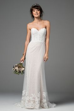 lace a-line wedding dress with corset bodice. willowby by watters. strapless wedding dress.