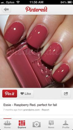 "Essie nail polish ""Raspberry Red"" Essie Nail Polish Colors, Toe Nail Polish, Fall Nail Polish, Nail Polishes, Manicures, Creative Nails, Raspberry Nails, Smart Nails, Clean Nails"