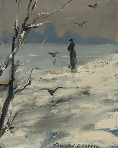 ~ Louise Abbéma ~ French artist, 1853-1927: Elegant Woman on a Winter's Walk