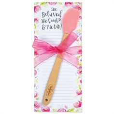 "Colorful and trendy list pad with silicone mini spatula and hand-tied ribbon. Combined with the ""She Believed She Could & She Did!"" sentiment, this floral gift set becomes a great inspirational gift. One Faith Boutique, Floral Artwork, She Believed She Could, Manicure Set, Store Signs, Inspirational Message, Shapes, Simple"
