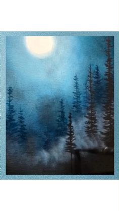 Painting Snow, Forest Painting, Winter Painting, Winter Scene Paintings, Canvas Painting Tutorials, Acrylic Painting Canvas, Painting Techniques, Diy Canvas Art, Landscape Art