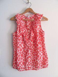 Ann Taylor LOFT Size S LOFT Ruffle Shell Top Blouse  #AnnTaylorLOFT #Blouse #ruffleBlouse #summerBlouse #cottonBlouse