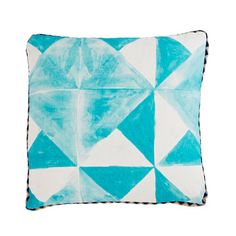 Pacific Tile Turquoise Pillow, cushion, blue