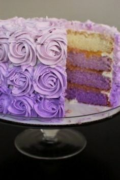 Like the ombre purple (or ombre anything - what a great surprise for someone on their birthday!)...but not sure you should give away the surprise with the frosting!!- also, too many roses! Purple Cakes, Cabbage, Dream Wedding, Vanilla Cake, Roses, Vegetables, Desserts, Food, Sweets