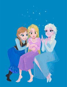 Anna, Rapunzel, and Elsa