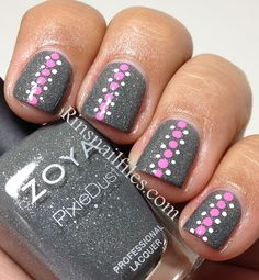 London- Foggy grey sparkle, 2 coats for full coverage and her application was great. Dry time was 8 min. Dotted design using white and pink acrylic paint and a dotting tool.