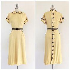 826e6dc6131 Beautiful Yellow Gabardine  amp  Black Velvet 1940s Dress. Stunning 1940s  Fashion Inspiration  1940s