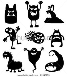 Silhouettes of cute doodle monsters-bacteria                                                                                                                                                                                 More