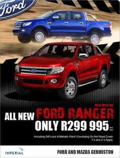 New Ford Ranger 4x2 Double Cab XL, yours from R299 995. Includes Diff Lock & Metallic Paint.