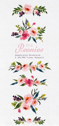 Watercolour Floral Clipart. Handmade by SmallHouseBigPony on Etsy: