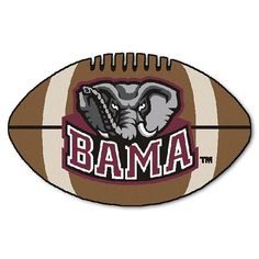 """Alabama Crimson Tide Football Shaped Area Rug Floor Mat - 22"""" X 35"""" #RollTide #AlabamaCrimsonTide   #AlabamaFootball"""
