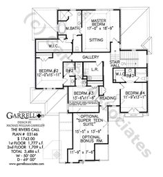Rivers Call House Plan 03146, 2nd Floor Plan, Courtyard Style House Plans, Traditional Style House Plans