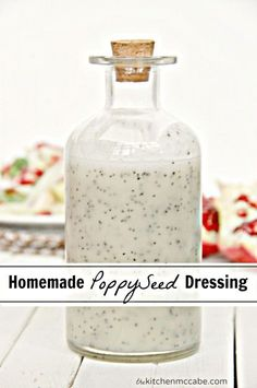 The BEST Homemade Poppy Seed Dressing - The Kitchen McCabe ¾ C. White Vinegar C. Canola Oil ¾ C. Sugar 2 T. White or Yellow onion(I just eyeball a chunk of onion) T. Salt ¾ t. Dry Mustard T. Salad Dressing Recipes, Salad Recipes, Poppyseed Salad Dressing, Lemon Poppyseed Dressing Recipe, Avacado Dressing, Sauce Pesto, Marinade Sauce, Homemade Dressing, Homemade Sauce