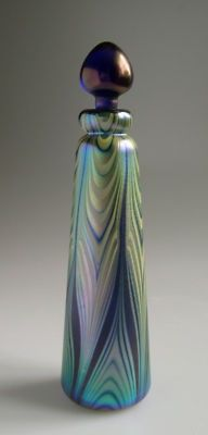 IRIDESCENT OKRA ART GLASS PERFUME BOTTLE dated 1983