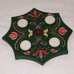 Hand painted wooden candle holder:  ~ 25 cm x 25 cm x 1,8 cm