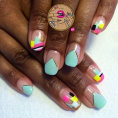 Abstract, negative space nail art manicure