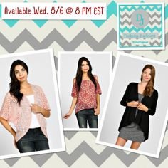 cardigans & top available Wed. night on the DAKOTA JACKSON BOUTIQUE Facebook pg.!   www.facebook.com/DakotaJacksonBoutique Be sure to LIKE us on Facebook! Repin!