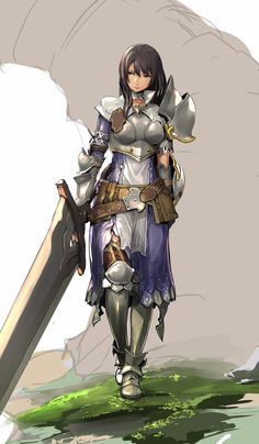 """Overall design and carrying a large weapon, not anime/sexistly """"sexy"""" but still obviously feminine Female Character Design, Character Design References, Character Design Inspiration, Character Art, Dnd Characters, Fantasy Characters, Female Characters, Female Armor, Female Knight"""